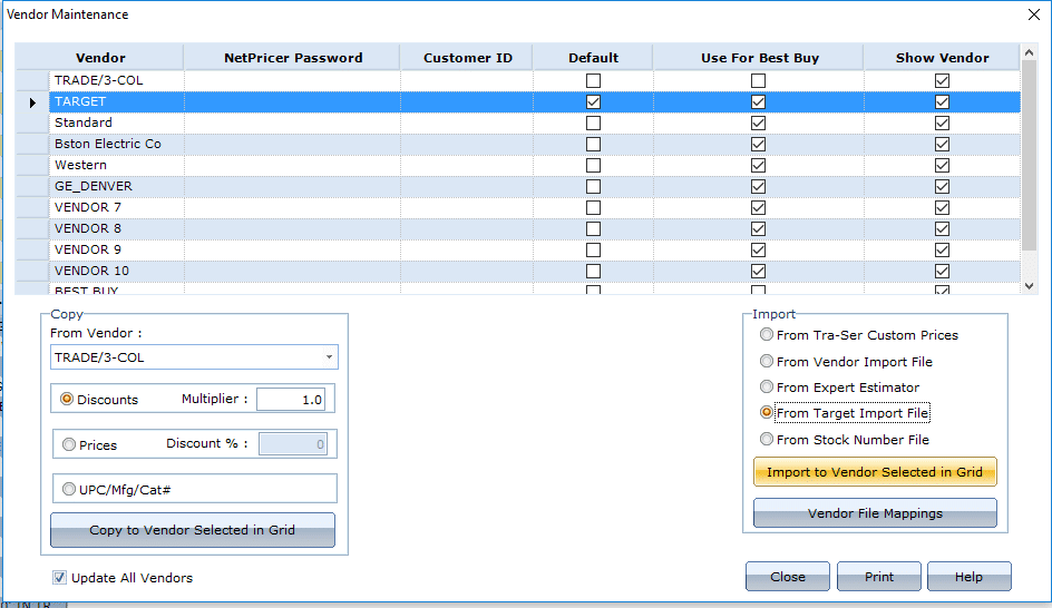 """Click """"Import to Vendor Selected in Grid."""