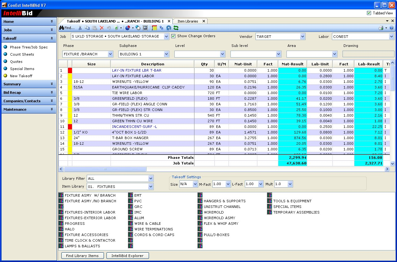 Intellibid Estimating Software Conest Software
